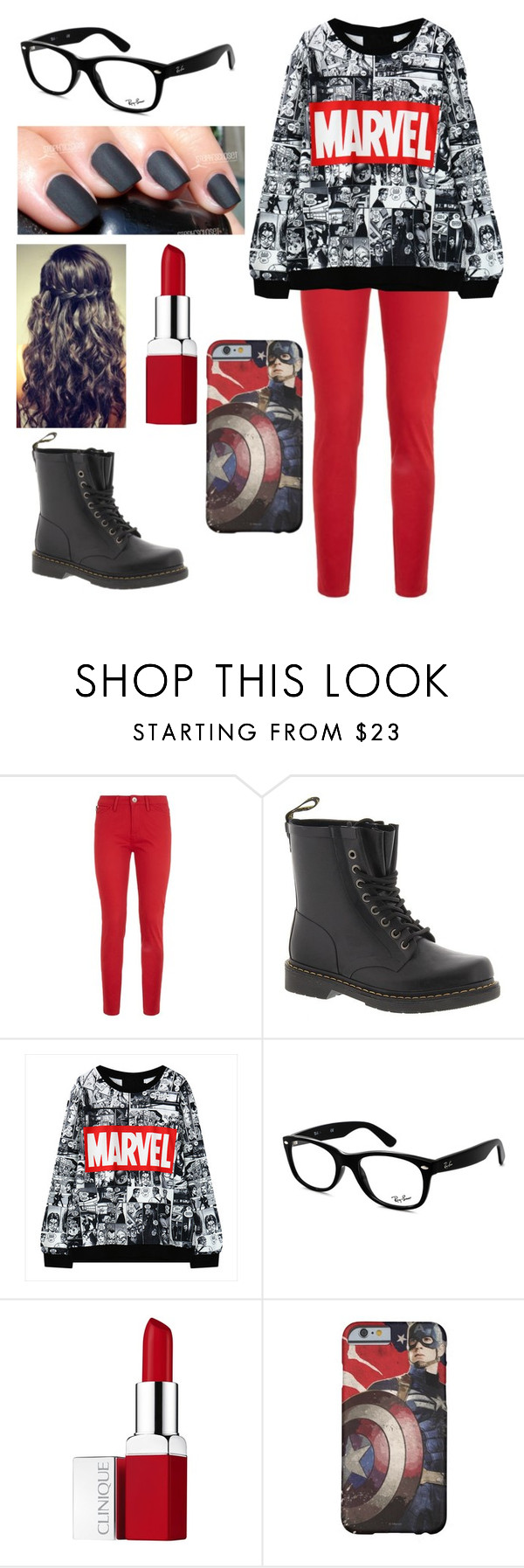 """Marvel"" by mandyc2317 ❤ liked on Polyvore featuring Love Moschino, Dr. Martens, Ray-Ban and Clinique"
