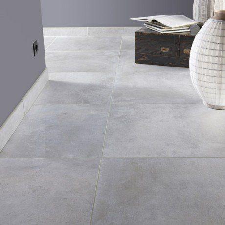 Carrelage sol et mur gris brume effet béton Live l.60 x L.60 cm ...