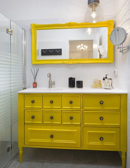 7 Tips For A Sensational Yellow Bathroom Counter The Late Winter Blahs With  A Blast Of Sunny Yellow In The Bathroom. Eclectic Bathroom House In Gedera,  ...
