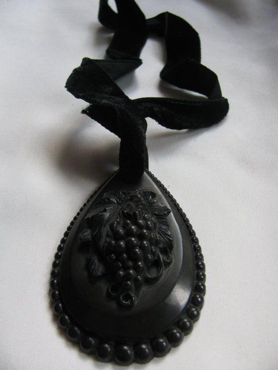 Large Victorian Vulcanite Pendant Necklace