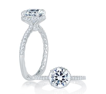 Alluring Hand Set Pav Diamond Halo Quilted Engagement Ring Style