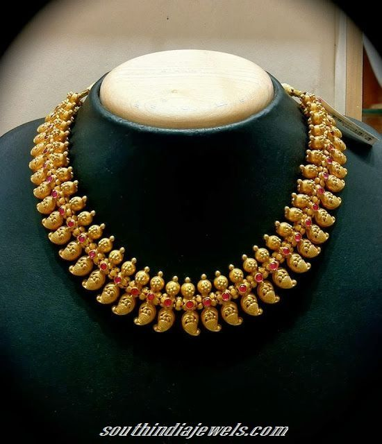 Top 25 Indian Antique Jewellery Designs For Women: Gold Mango Mala Necklace