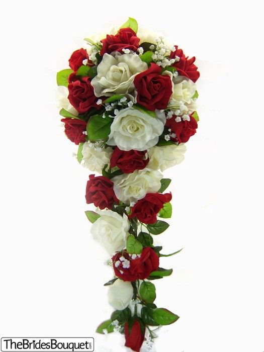 Red and Ivory Rose Cascade | Artificial Wedding Flowers | Silk Bridal Bouquet | Wedding Bouquets #fantasticweddingbouquets