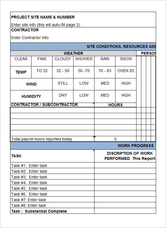 download contractors daily construction report template pay stub - daily job report template