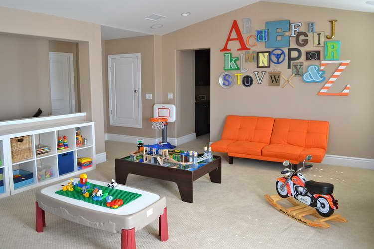 Ultimate Kids Playroom Colors Influence On Ambiance Sweet Heart Kids Playroom Colors With Orange Sofa Bed Gozetta Com Kids With Images Playroom Design Toddler Boys Room