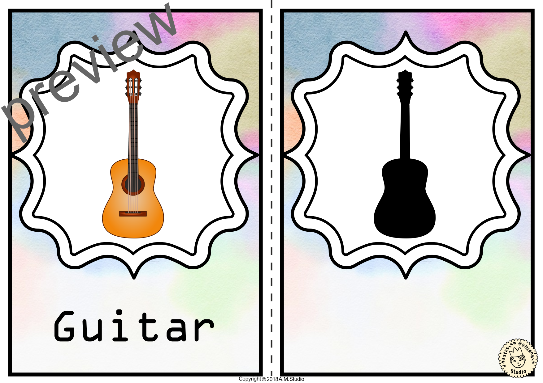 Musical Instruments Shadow Matching Cards