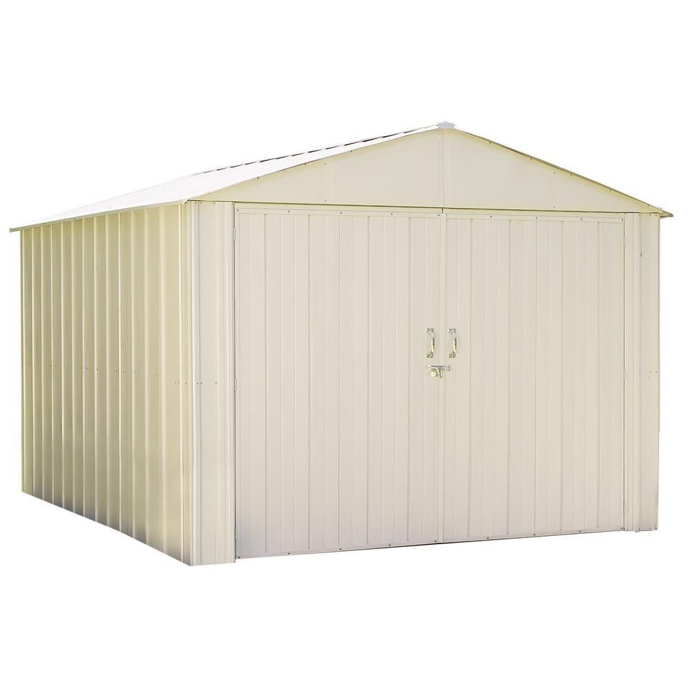 Arrow Commander 10 Ft W X 10 Ft D White Hot Dipped Galvanized Metal Storage Shed Whites Metal Storage Sheds Steel Storage Sheds Shed Storage