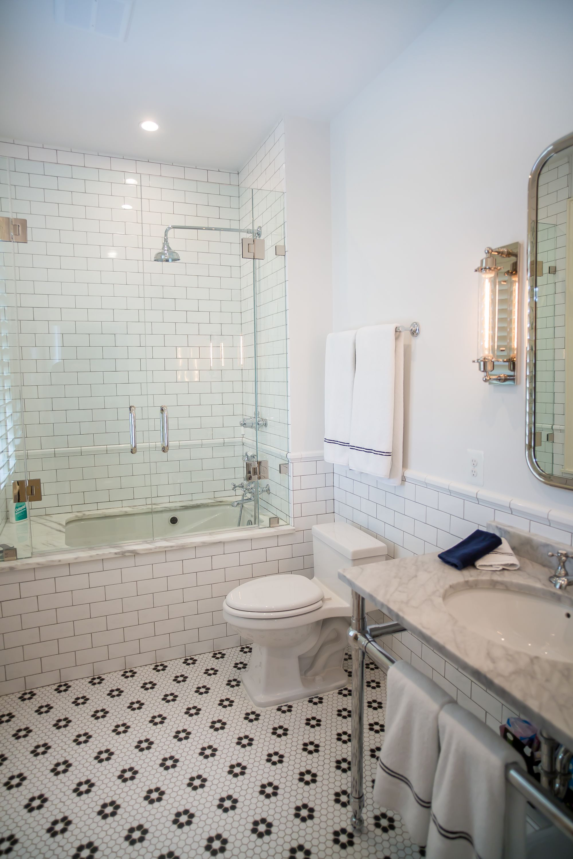 Bon Custom Bathroom Renovation In Loudoun County, Virginia Features Honeycomb  Tile Flooring, Subway Tile,