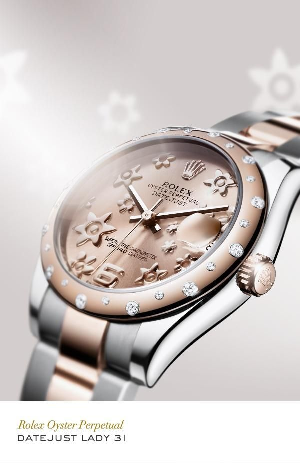 Rolex Datejust Lady 31 in 904L steel and Everose gold with a gem-set domed bezel, a pink floral motif dial and Oyster bracelet. #RolexOfficial