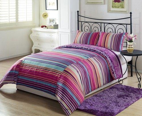 3pcs Purple Orange Leaf White Yellow Blue Stripe Reversible Comforter Set Queen
