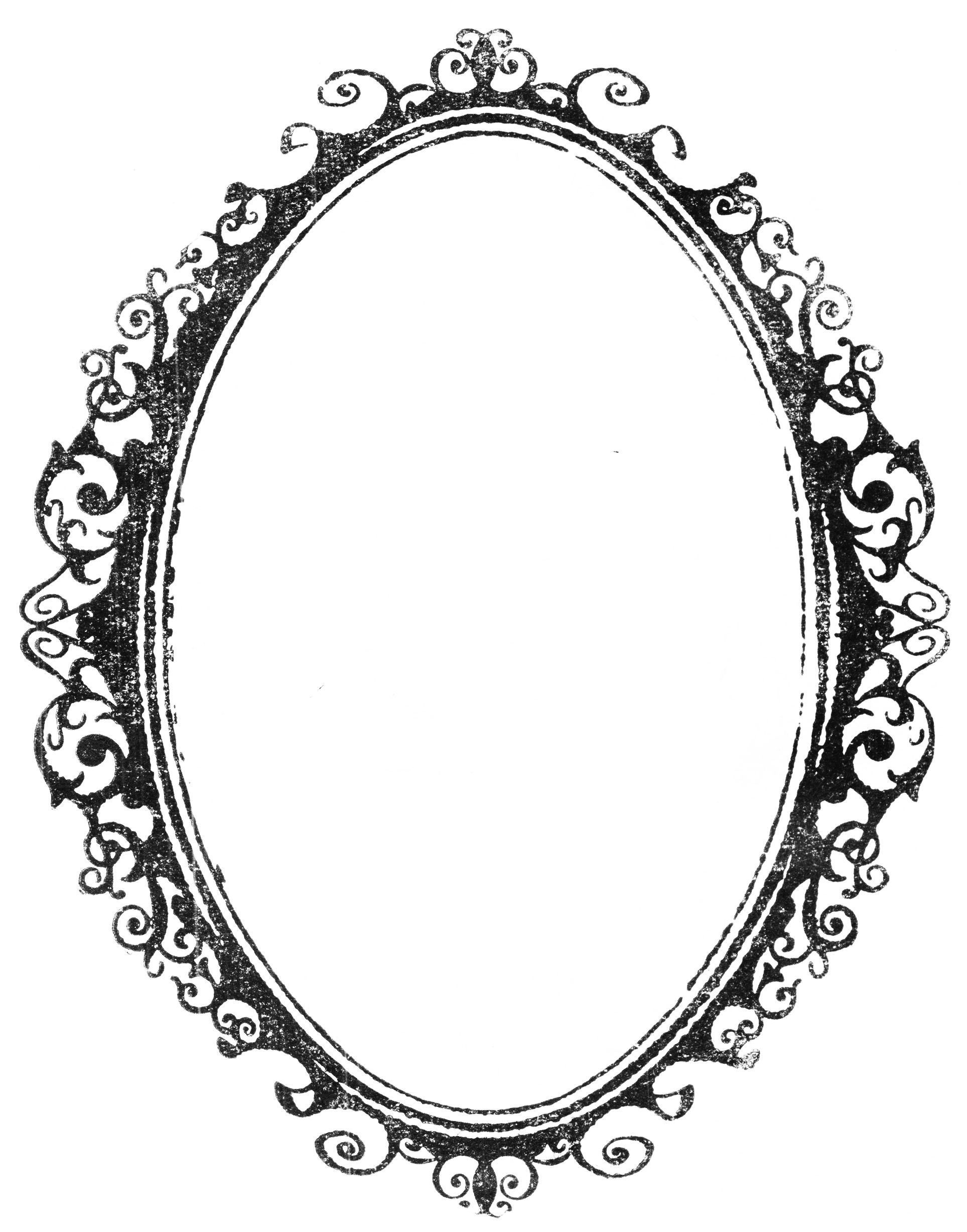 Ornate Oval Frame Drawing