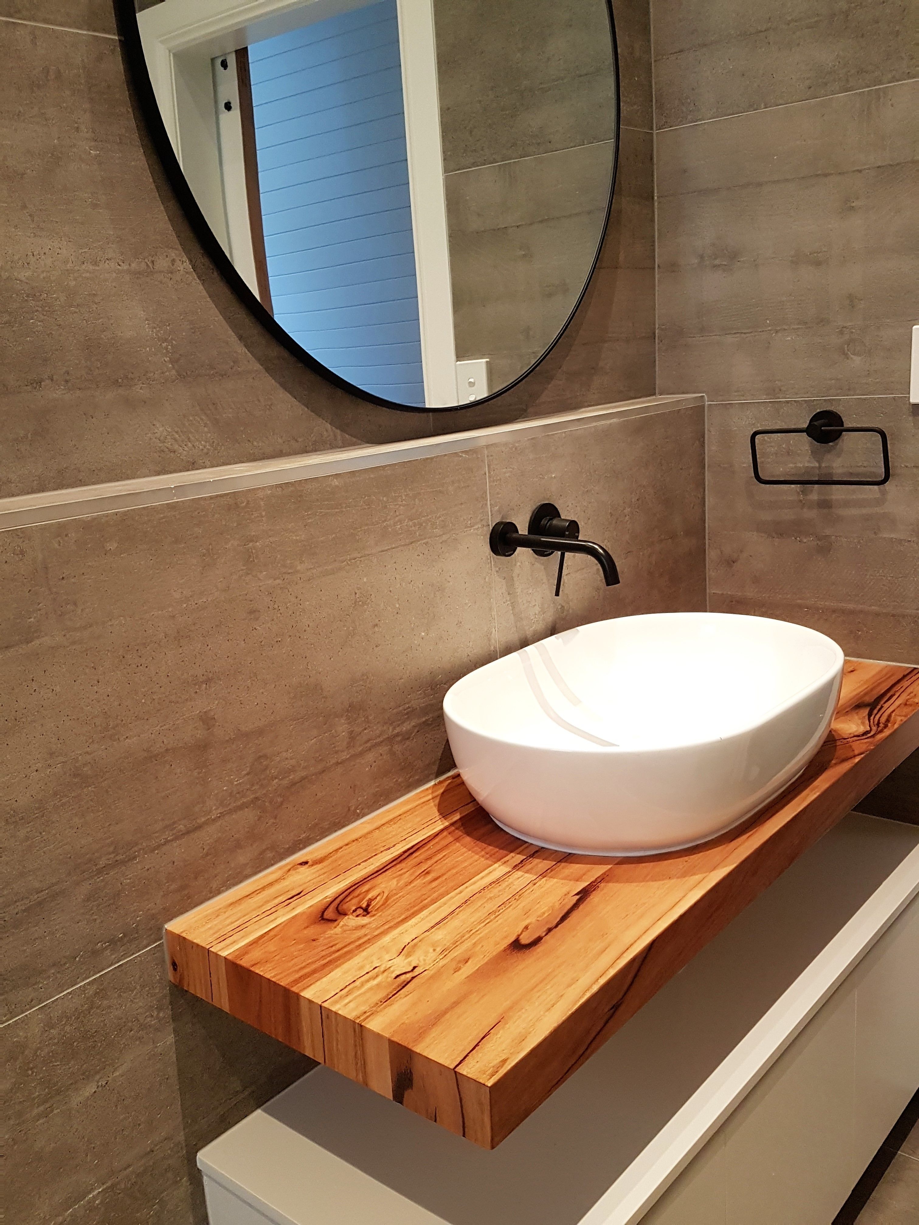 This Vanity Top Is Made From Our Mixed Hardwood Range Choosing Detailed Blonde Tones Creating A Beautiful Fe Custom Vanity Timber Vanity Round Mirror Bathroom