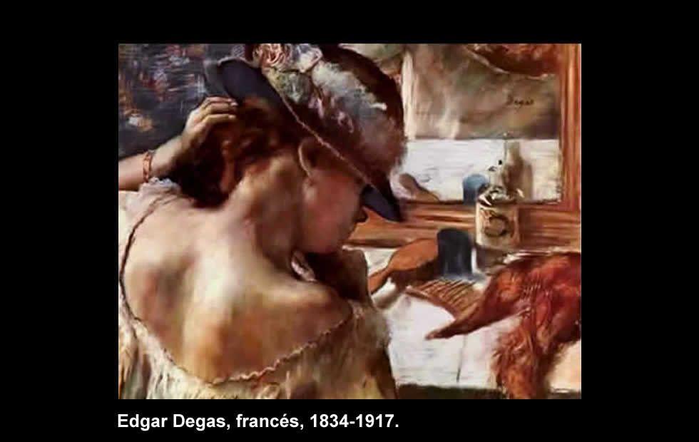 Frente al espejo - Pintura de Edgar Degas