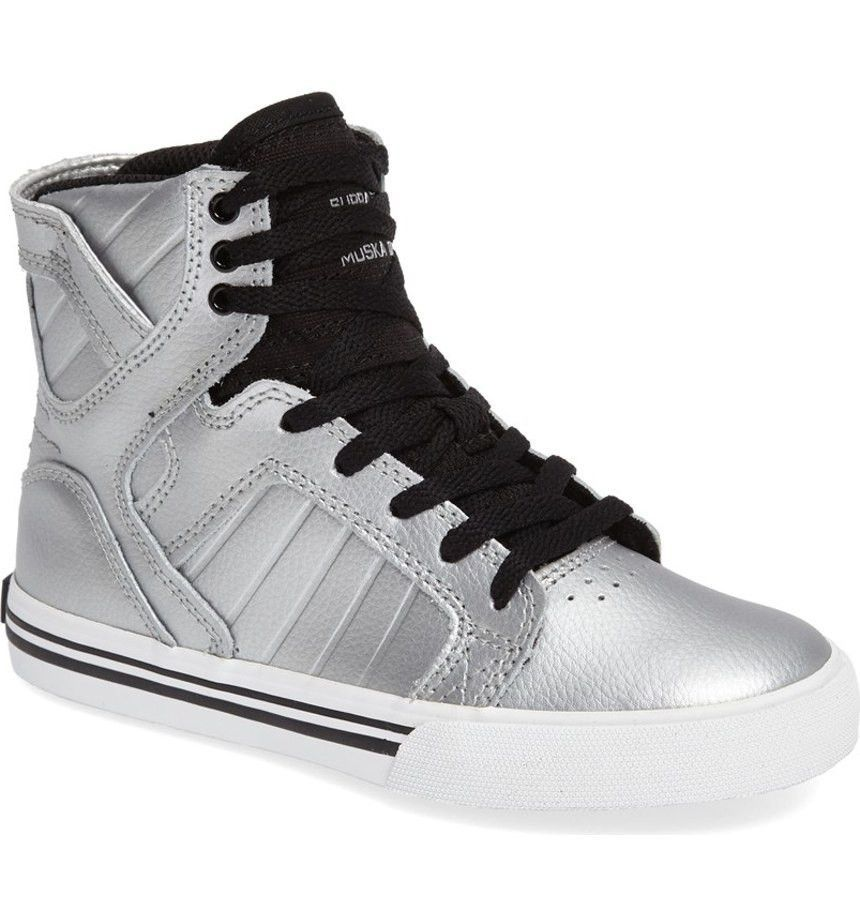 Supra Children (Youths) Skytop Black Red White Skate Shoes