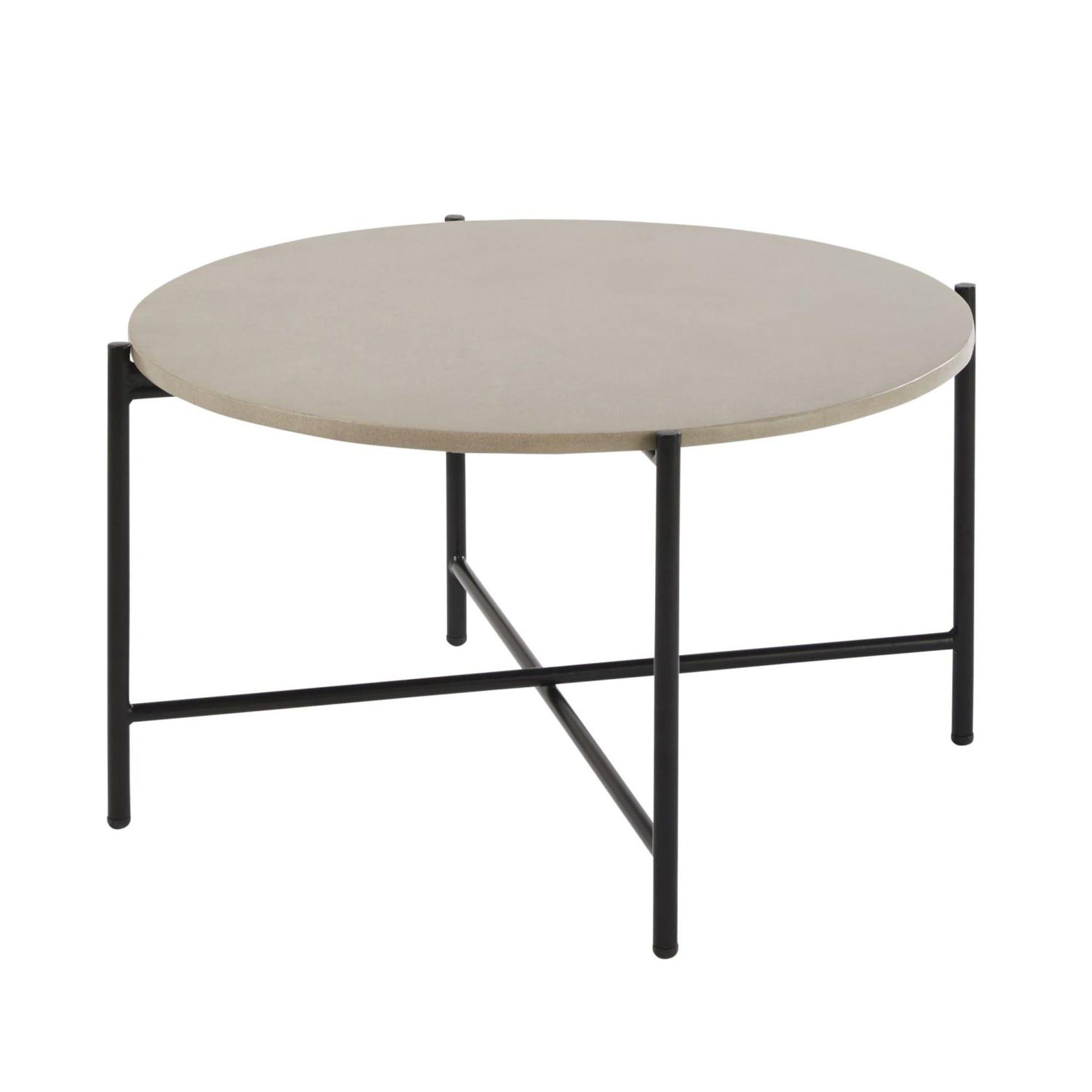 Table Basse De Jardin Ronde En Ciment Et Metal Noir Exterieur In