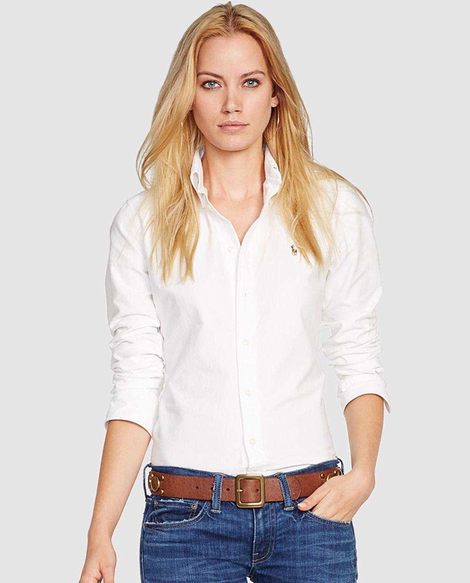 Camisa blanca de mujer Polo Ralph Lauren con manga larga  c7436026a0314