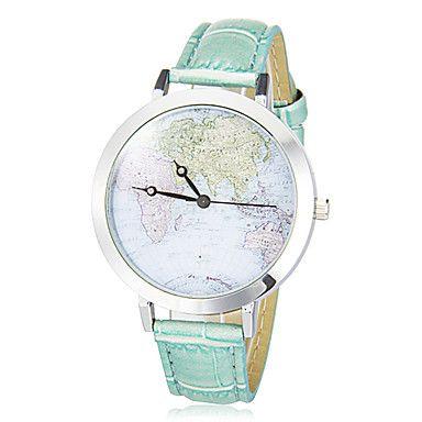 De las mujeres del patrón del mapa Dial redondo Pu banda de cuarzo reloj de pulsera analógico (colores surtidos) – MXN $ 110.65