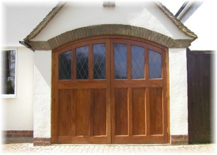 timber side hinged garage door with leaded windows | House ...