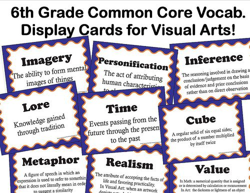 display cards   teaching art   Art classroom, Common core ...
