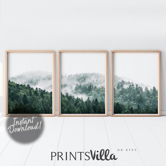 Mountain Art Print Set Of 3 Piece Forest Wall Three Etsy