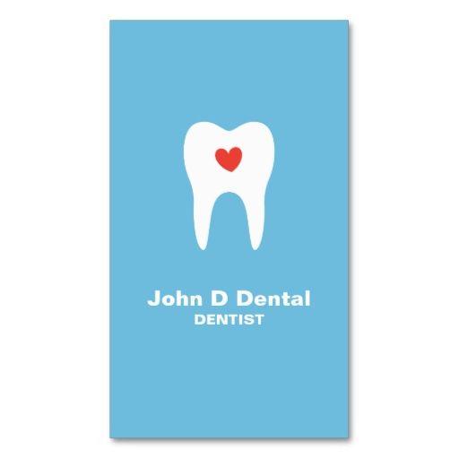 Tooth and heart blue dental dentist business card : Dental