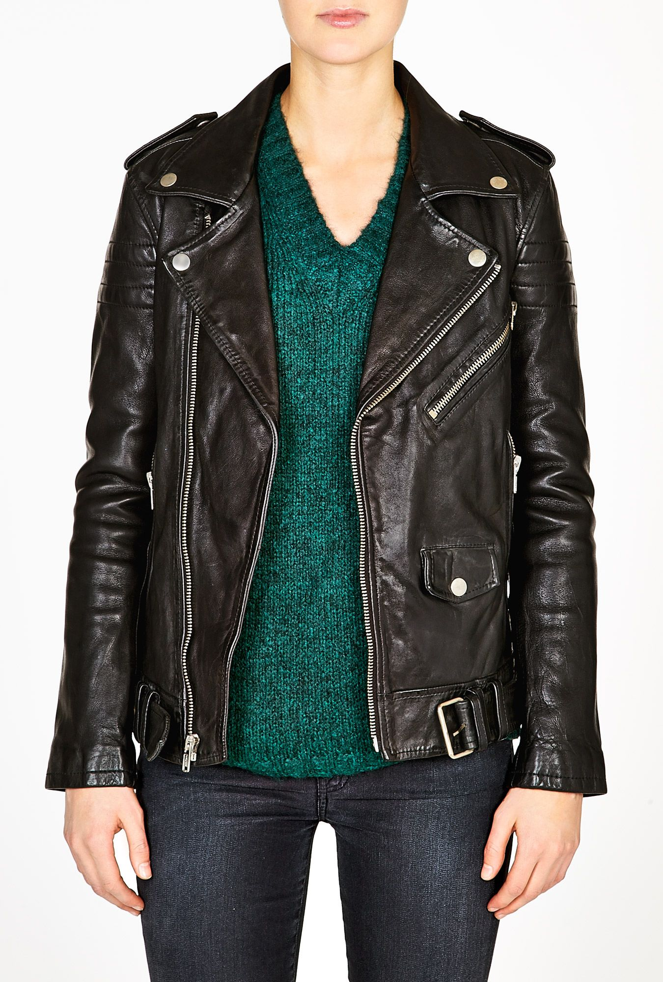 Black Leather Masculine Fit Motorcycle Jacket by BLK DNM