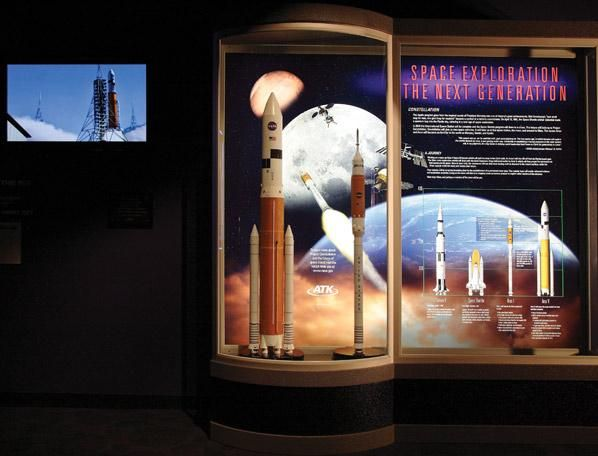 This new Project Constellation exhibit from ATK Launch Systems showcases the Ares I Crew Launch and Ares V Cargo Launch vehicles in scale models and includes computer animation of how the system will support America's efforts to return astronauts to the Moon in the next decade.