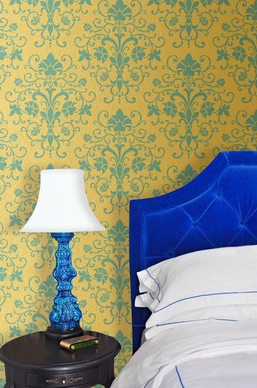 Blue and Yellow wall with stencil | house | Pinterest | Walls ...