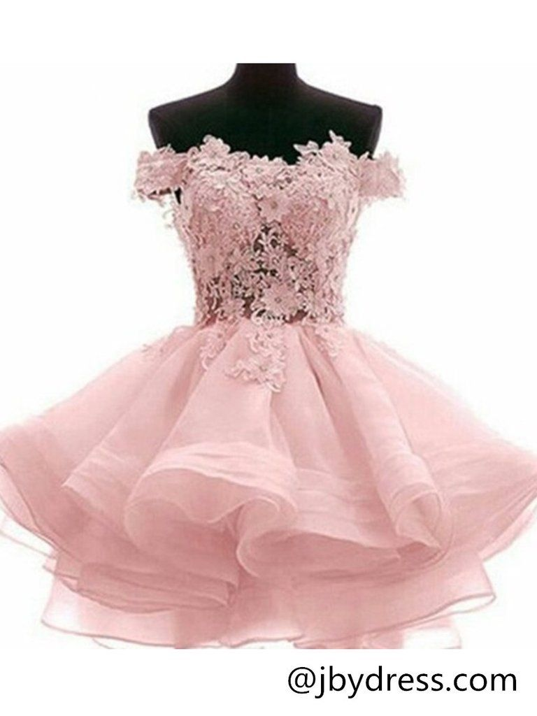 Custom Made Off Shoulder Pink Lace Prom Dresses, Pink Lace ...
