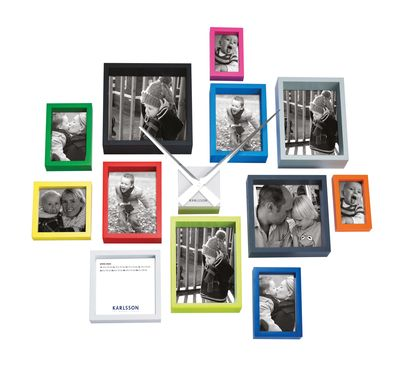 Twelve brightly coloured picture frames in various sizes that you ...