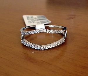 025 ct solitaire enhancer diamonds ring guard wrap 14k white gold wedding band