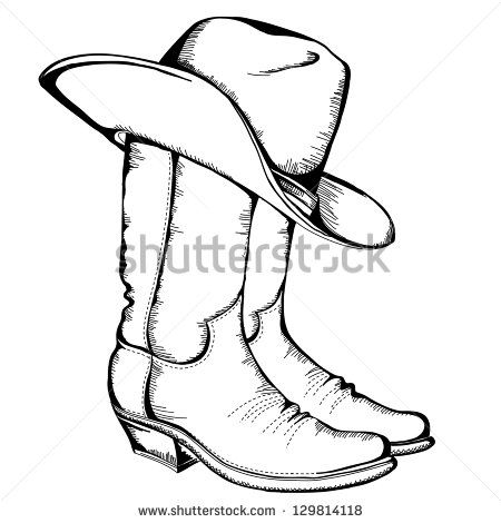 Cowboy Boots And Hat Vector Graphic Illustration Cowboy Boots Drawing How To Draw Cowboy Boots Boots Drawing