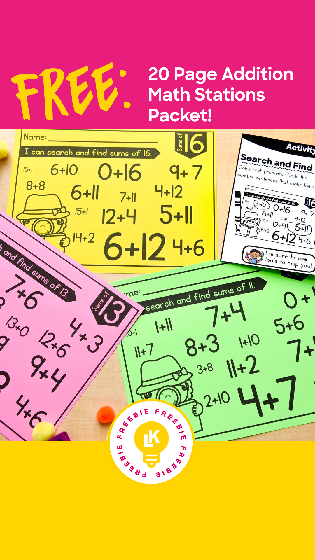 Free 20 Page Addition Math Stations Packet Perfect For