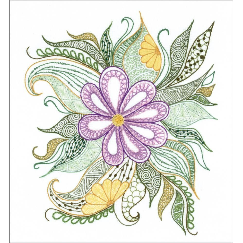 Lovely flower stamped embroidery kit
