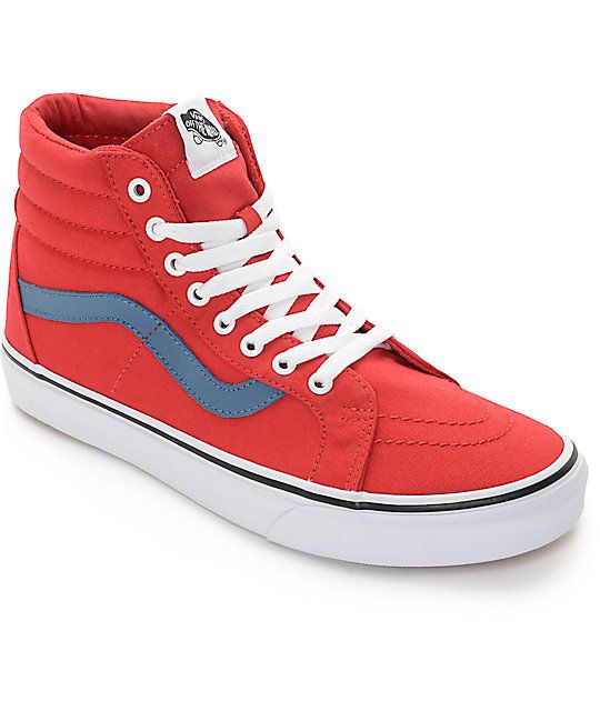 5b67d0f43e23 Vans Sk8-Hi Red and Blue Canvas Skate Shoes (Mens)