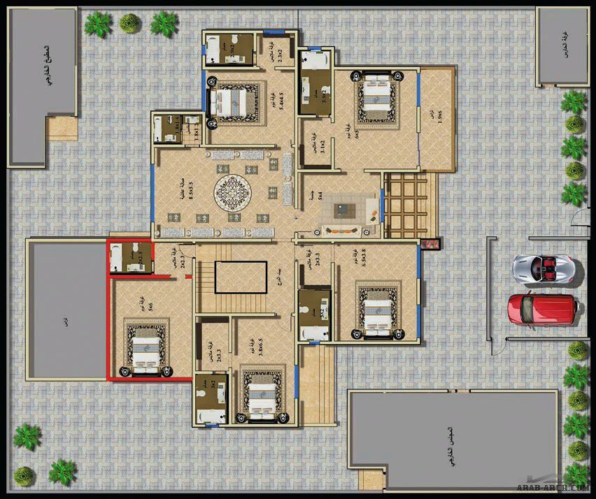 مخطط الفيلا رقم التصميم Z1 من مبادرة بيتى 927 متر مربع 5 غرف نوم Square House Plans House Plans House Floor Plans