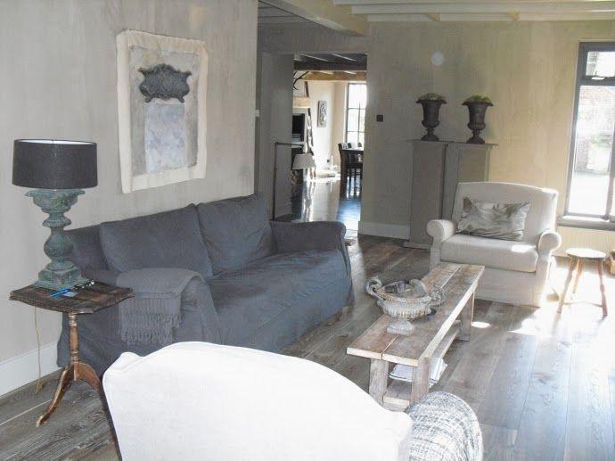 Mooie sfeer en kleuren grey linen living room interior home