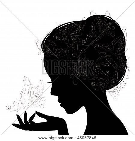 Sillouette Woman Silhouette Butterfly Silhouette Drawing Woman Silhouette