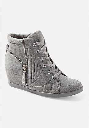 8375fb0e72b1 Zipper Wedge Sneakers