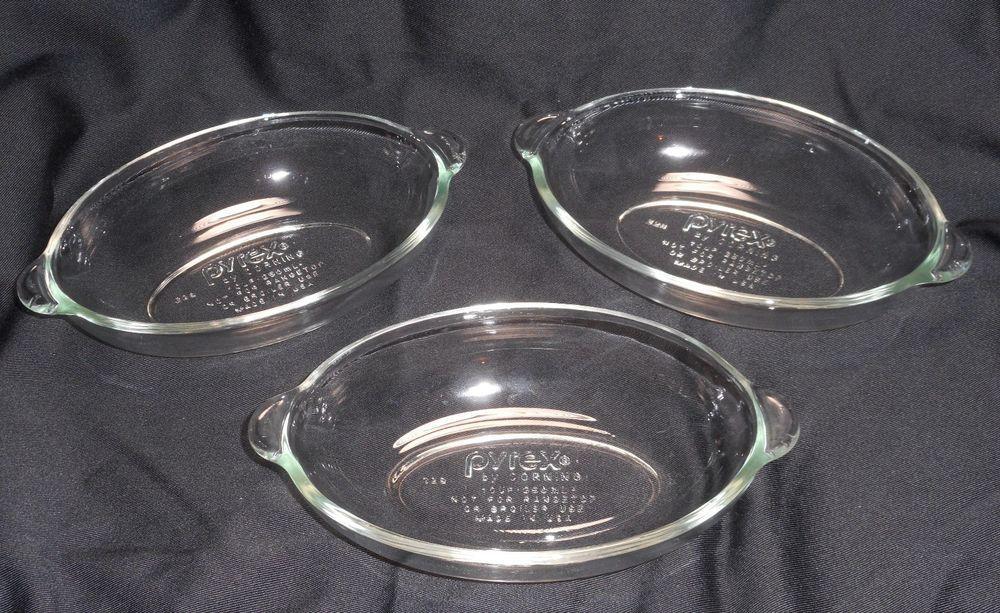 3 Pyrex 8oz 1 Cup Casserole Oval Dishes Bowls 328 Clear Glass Pyrexbycorning Pyrex Vintage Bowl Pyrex