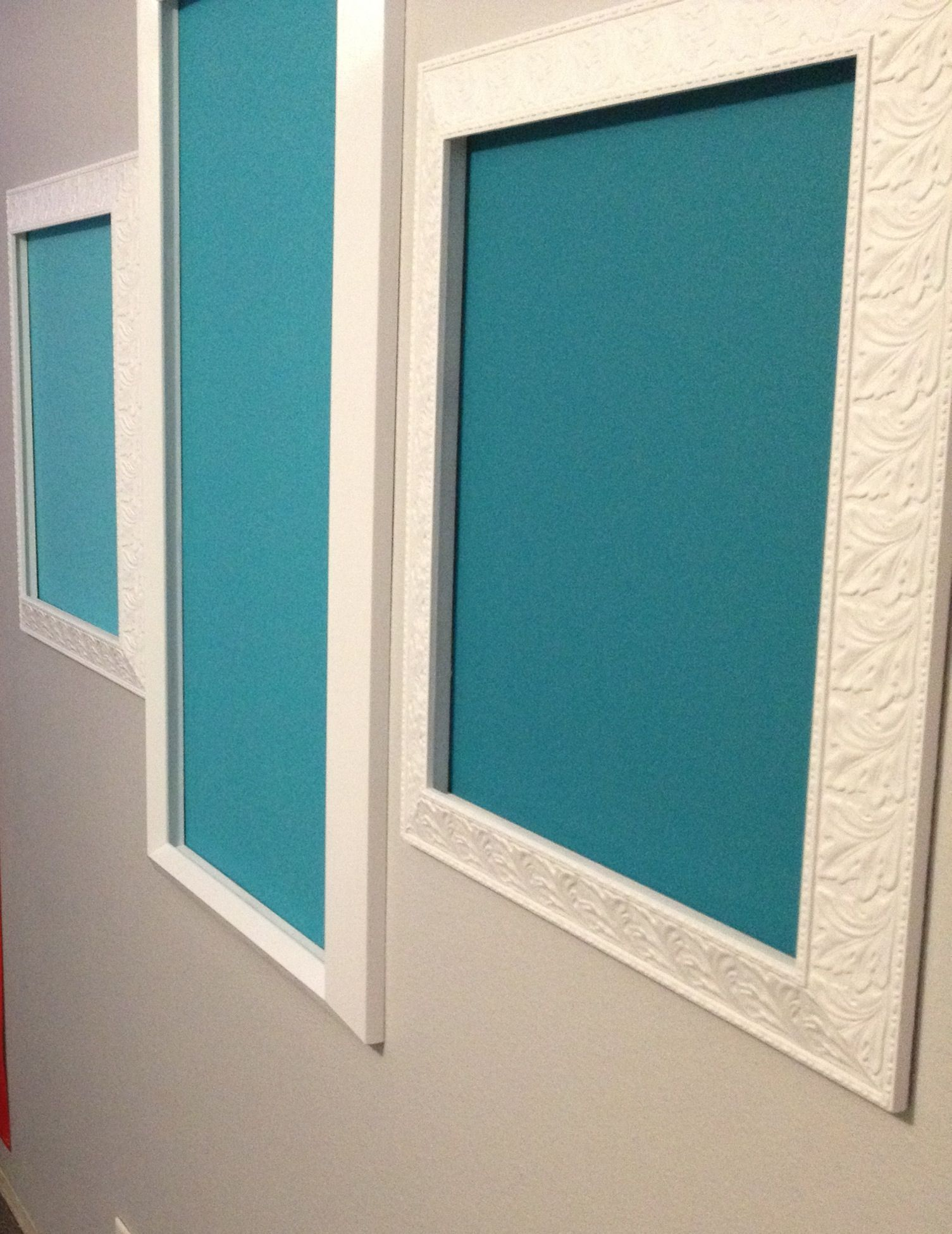 Chalkboard paint in ombré teal on wall - framed by repainted ...