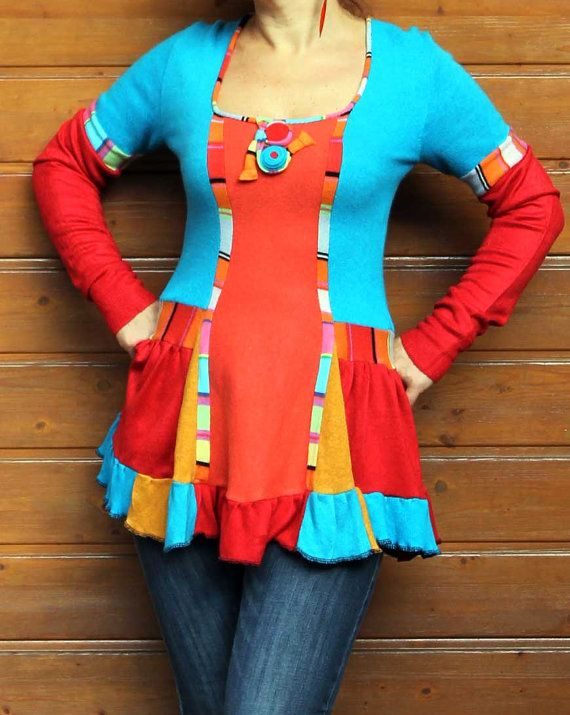 multicolored fantasy sweater tunic recyclage v tements pinterest v tement recycl. Black Bedroom Furniture Sets. Home Design Ideas