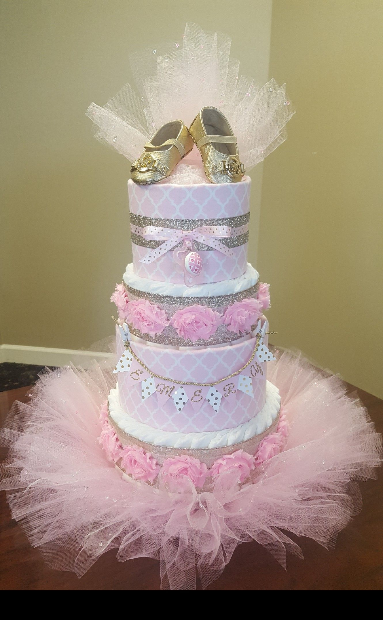 Pink And Gold Diaper Cake Tutus And Tiaras Baby Shower Gold