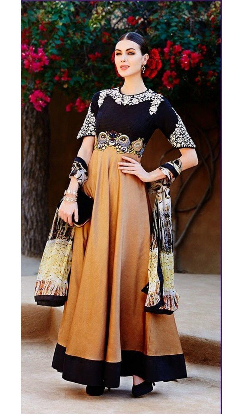 472a1f97bfa Black Brown Attire Semi Stitched Embroidered Wedding Wear Kimora Salwar Suit