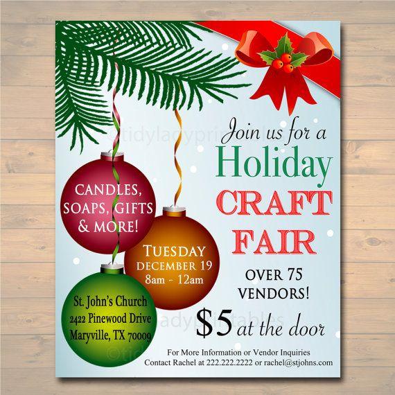 Christmas Craft Show Flyer.Editable Holiday Craft Fair Flyer Christmas Craft Show
