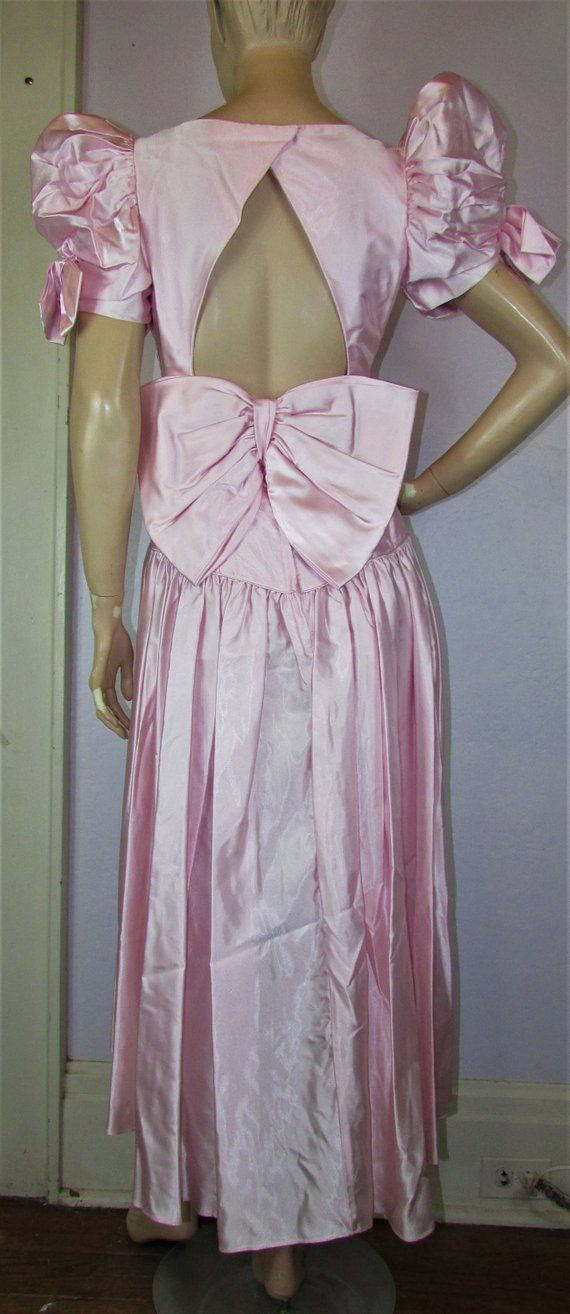 270b3a6de281a 80s Bridesmaid Prom Dress Vintage 1980s Satin Pink Puff Sleeve HiLo Costume  Big BOW Wedding Party Gown 6/8