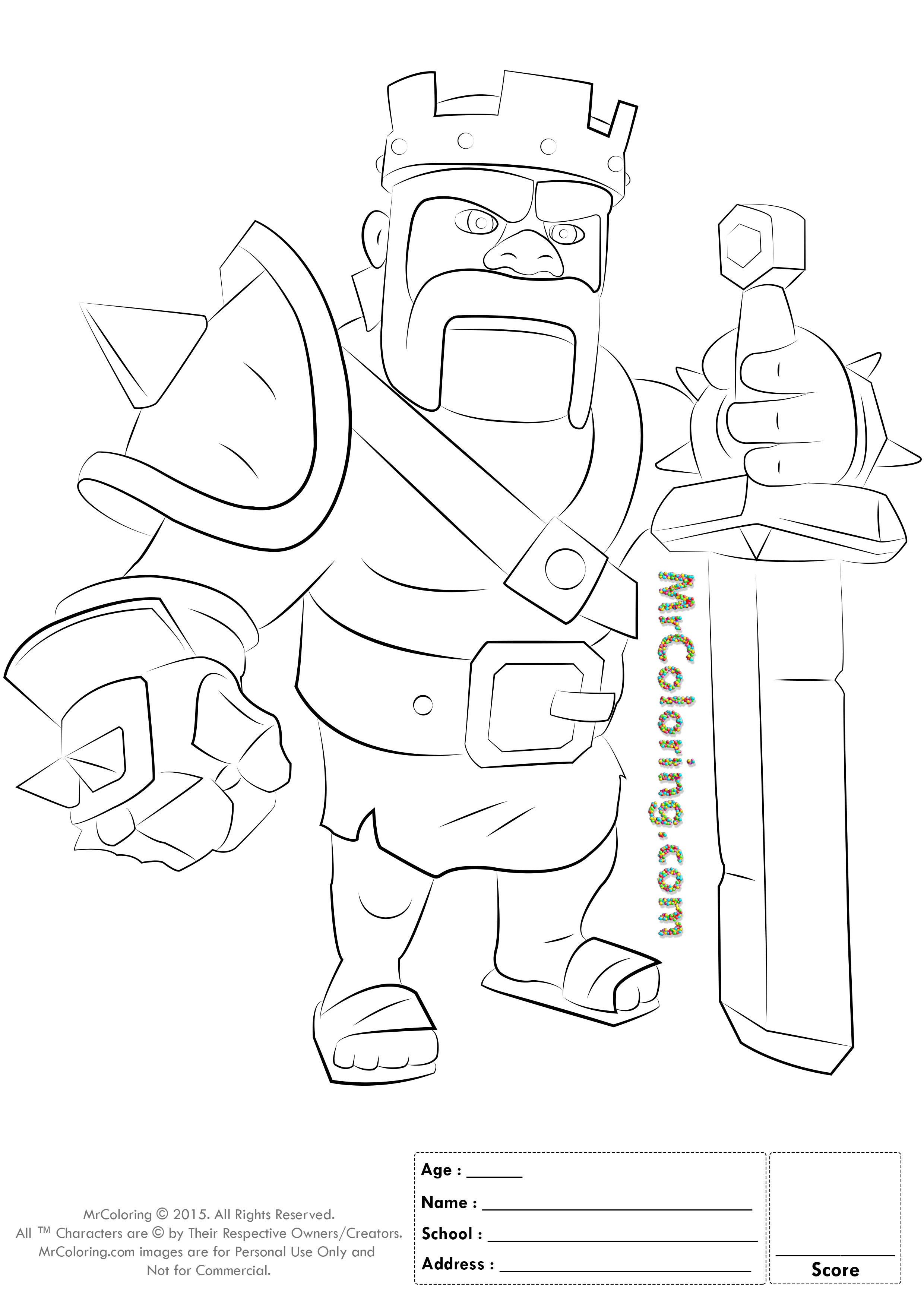 Free Printable Clash Of Clans Barbarian King Coloring Pages 1