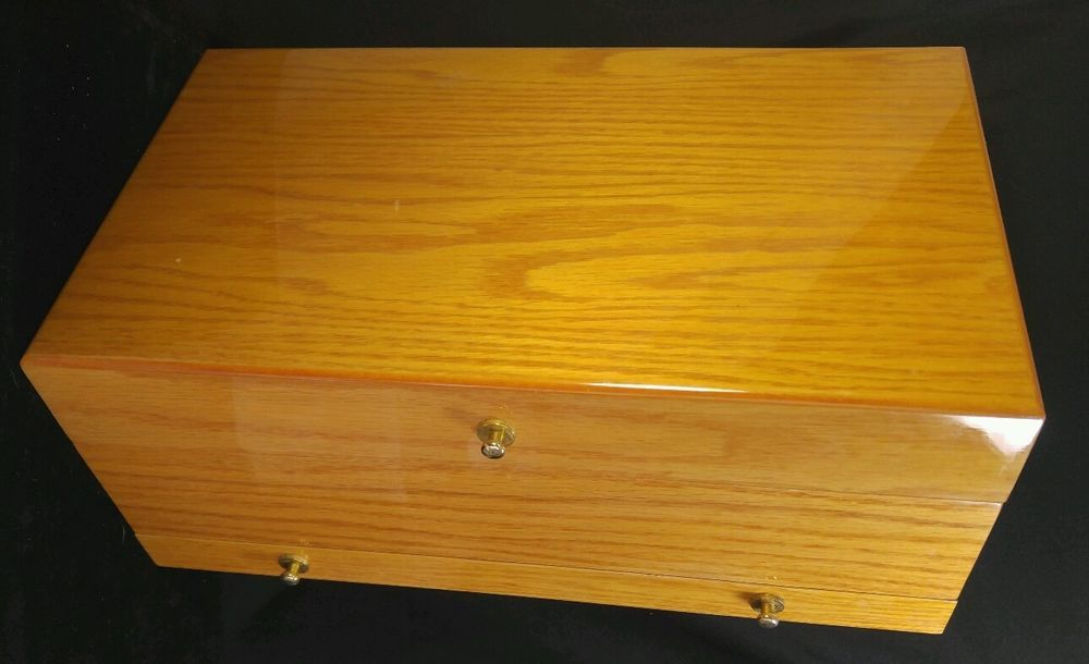 Jewelry Organizer Large Solid Wood Box, Safekeeper Footed Mirror Jewelry Cabinet