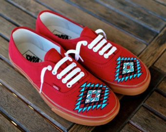 Custom Hand Painted Vans -- Native American tribal theme on Chili Pepper Gumsole Sneakers -- Customizable