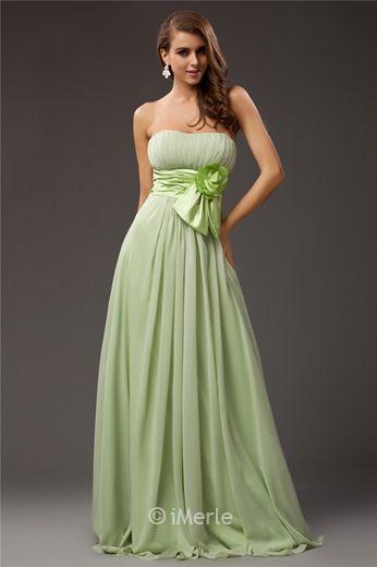 long green pleated bridesmaid dress